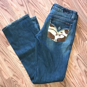 Distressed cow skin Jeans